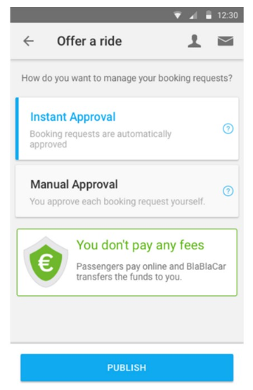 BlaBlaCar offer a ride window